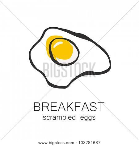 Breakfast - fried or scrambled eggs. Template design for the logo, menus, flyers for cafes, restaurants, fast food, food.