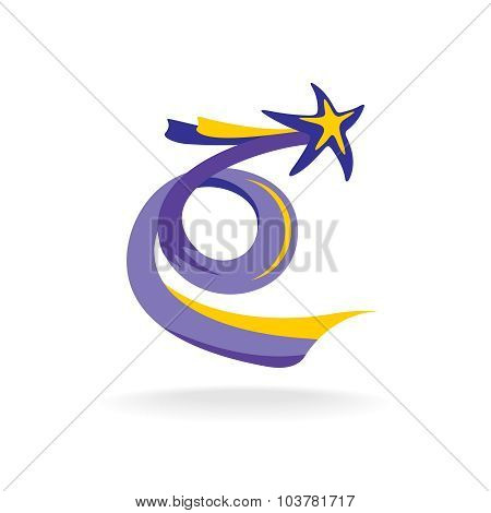 Rising Star With Spiral Colorful Tail Vector Illustration