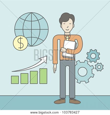 An asian Office clerk standing beside growing chart. Successful business concept. Vector line design illustration. Square layout.