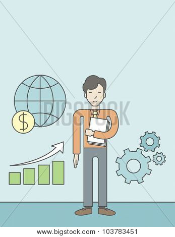 An asian businessman standing beside growing chart. Successful business concept. Vector flat design illustration. Vertical layout with a text space.