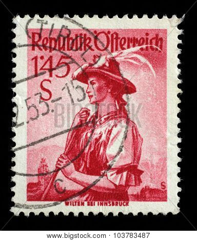 AUSTRIA - CIRCA 1951: A stamp printed in Austria shows image woman in national Austrian costumes, Wilten, series, circa 1951