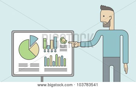 The man with a beard presenting his report through infographics in office. Reporting concept. Vector line design illustration. Horizontal layout with a text space.