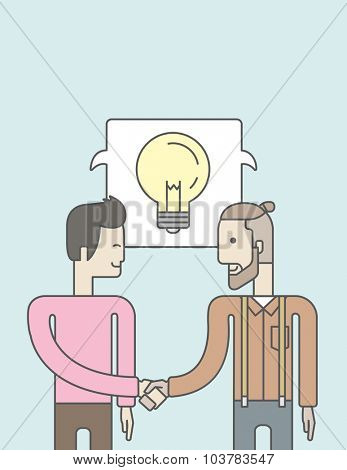 Two caucasian men standing facing each other handshaking for the successful business deal. Business partnership concept. Vector line design illustration. Vertical layout with a text space.