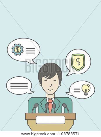 An asian speaker standing behind a podium with microphones and giving a speech. Reporting concept. Vector line design illustration. Vertical layout with a text space.