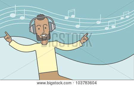 Happy black man dancing and listening to music with headphone. Vector line design illustration. Horizontal layout with a text space.