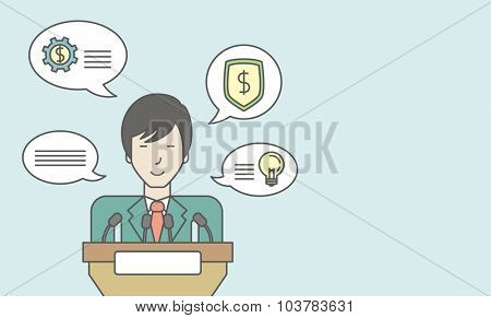 An asian speaker standing behind a podium with microphones and giving a speech. Reporting concept. Vector line design illustration. Horizontal layout with a text space.