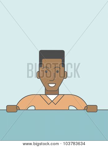 Man sitting at the desk in the office. Vector line design illustration. Vertical layout with a text space.