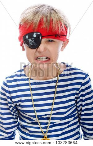 Close up portrait of angry pirate. Isolated on white background