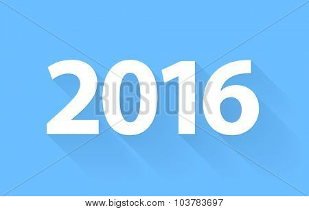 New 2016 Year. Vector text with a shadow on a blue background
