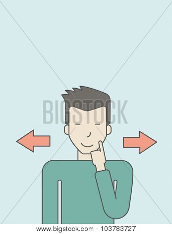 Businessman with the alternative choice. Vector line design illustration. Vertical layout with a text space.