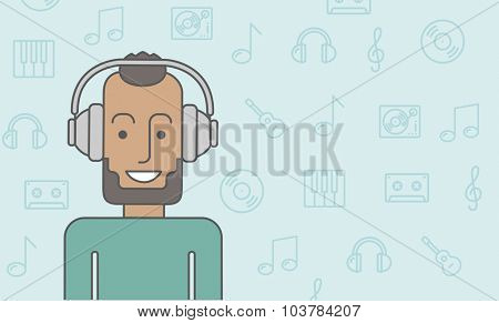 Happy black man listening to music with headphone. Vector line design illustration. Horizontal layout with a text space.