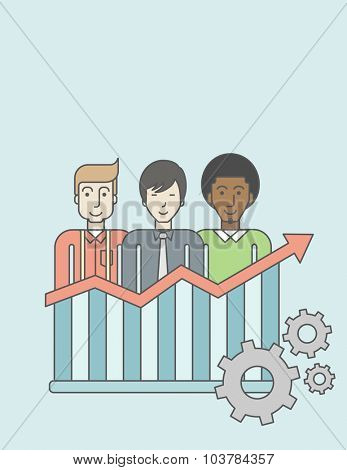 Three businessmen standing over growing chart. Perspective business concept. Vector line design illustration. Vertical layout with a text space.