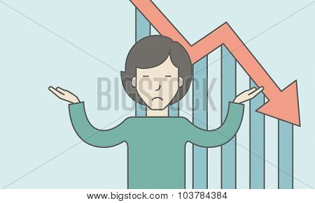 An asian business woman with falling down graph is confused. Bankruptcy concept. Vector line design illustration. Horizontal layout with a text space.