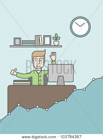 A caucasian man working at the office with growth graph. Successful business concept. Vector line design illustration. Vertical layout with a text space.