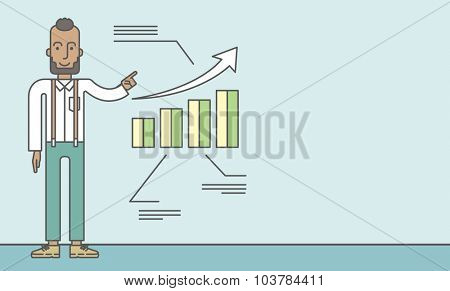 The man with a beard presenting his report through infographic. Reporting concept. Vector line design illustration. Horizontal layout with a text space.
