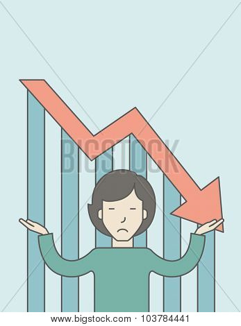 An asian business woman with falling down graph is confused. Bankruptcy concept. Vector line design illustration. Vertical layout with a text space.
