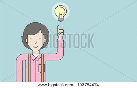 An asian woman pointing at light bulb. Successful business concept. Vector line design illustration. Horisontal layout with a text space.
