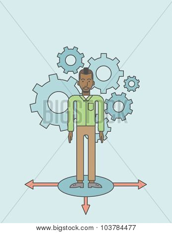 A black businessman standing on three alternative ways with gears behind him. Vector line design illustration. Vertical layout with a text space.