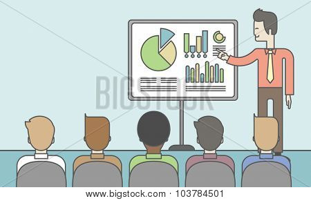 The man presenting his report through infographics in office. Reporting concept. Vector line design illustration. Horizontal layout with a text space.