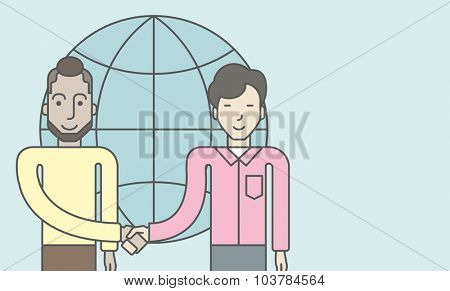Two men standing and handshaking for the successful business deal on the globe background. Business partnership concept. Vector line design illustration. Horizontal layout with a text space.