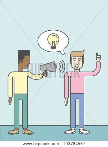An african businessman holding a megaphone and caucasian man pointing at light bulb. Announcement concept. Vector line design illustration. Vertical layout with a text space.