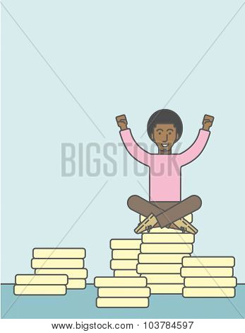 An african businessman with a happy face and raised hands sitting on coins. Successful business concept. Vector line design illustration. Square layout.