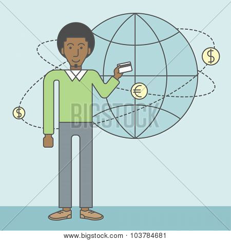 A black man holding credit card stands near money coins flying around the globe. Ecommerce business concept. Vector line design illustration. Square layout.