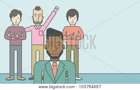 Group of happy businessmen standing. Business partnership concept. Vector line design illustration. Horizontal layout with a text space.