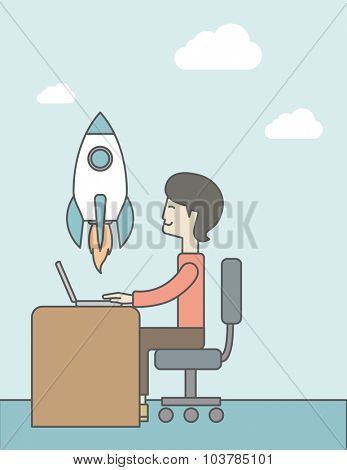 An asian man sitting at the table in front of his laptop and flying rocket on the background. Start up business concept. Vector line design illustration. Vertical layout with a text space.