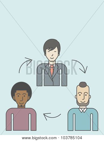 Three employee and circular arrows between them. Staff turnover concept. Vector line design illustration. Vertical layout with a text space.