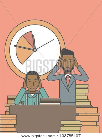 Two scared businessman holding their heads at the office and clock behind. Deadline concept. Vector line design illustration. Vertical layout with a text space.