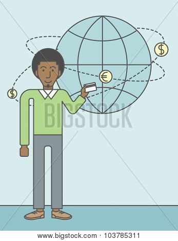 A black man holding credit card stands near money coins flying around the globe. Ecommerce business concept. Vector line design illustration. Vertical layout with a text space.