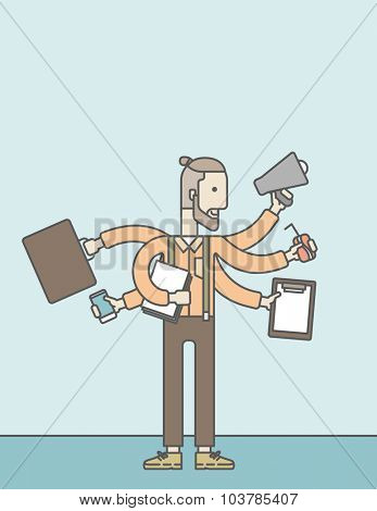 A caucasian businessman with many hands confused having a lot to do. Vector line design illustration. Vertical layout with a text space.