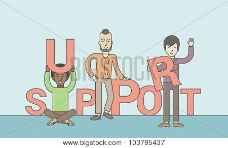 Three businessmen holding letters that make up word of support. Teamwork concept. Vector line design illustration. Horizontal layout with a text space.