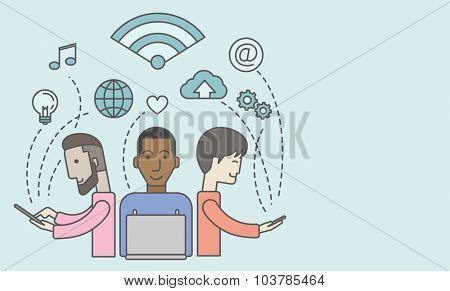 Three men under wifi sign. Vector line design illustration. Horizontal layout with a text space.