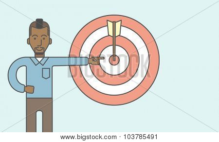 An african businessman standing and pointing at a target board with arrow. Vector line design illustration. Horizontal layout with a text space.