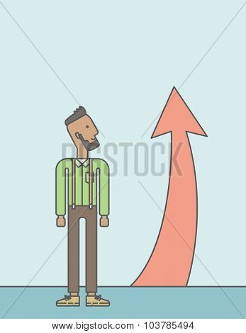 Cheerful african businessman looking at arrow going up. Successful business concept. Vector line design illustration. Vertical layout with a text space.