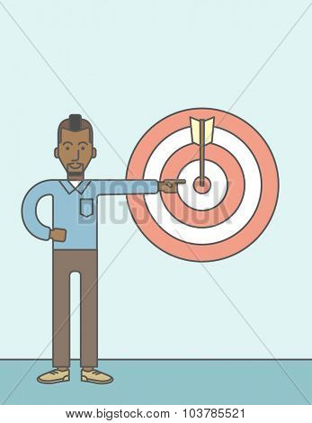 An african businessman standing and pointing at a target board with arrow. Vector line design illustration. Vertical layout with a text space.