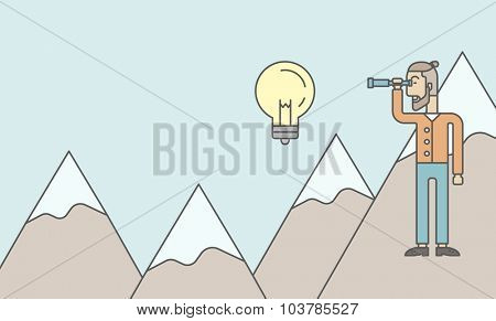 A caucasian hipster man with the beard holding telescope looking at the bulb on the top of mountain. Vector line design illustration. Horizontal layout with a text space.