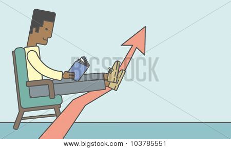 An african-american businessman sitting in chair with book in hands. Vector line design illustration. Horizontal layout with a text space.