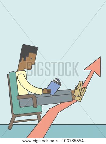 An african-american businessman sitting in chair with book in hands. Vector line design illustration. Vertical layout with a text space.