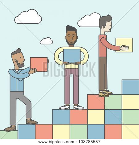 Three men carrying blocks and putting them one by one. Business partnership concept. Vector line design illustration. Square layout.