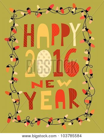 Happy 2016 new year card with garland. Vector illustration