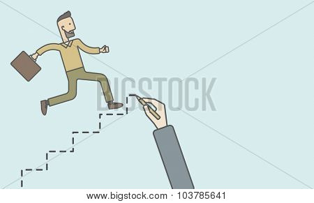 Cheerful caucasian hipster businessman with briefcase running up the stairs hand-painted. Vector line design illustration. Horizontal layout with a text space.