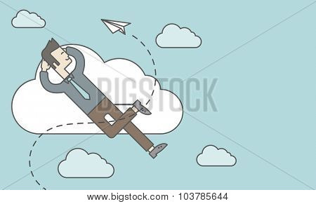 An asian man is relaxing while lying on a cloud with paper plane. Vector line design illustration. Horizontal layout with a text space.