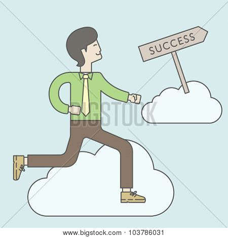 An asian businessman in the sky moving to success. Successful business concept. Vector line design illustration. Square layout.