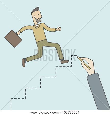 Cheerful caucasian hipster businessman with briefcase running up the stairs hand-painted. Vector line design illustration. Square layout.