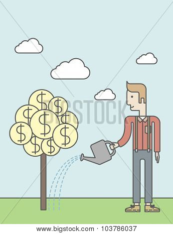 Man taking care of finances watering a money tree. Successful business concept. Vector line design illustration. Vertical layout with a text space.