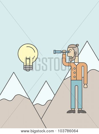 A caucasian hipster man with the beard holding telescope looking at the bulb on the top of mountain. Vector line design illustration. Vertical layout with a text space.