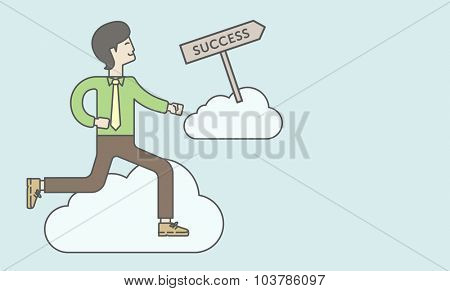 An asian businessman in the sky moving to success. Successful business concept. Vector line design illustration. Horizontal layout with a text space.
